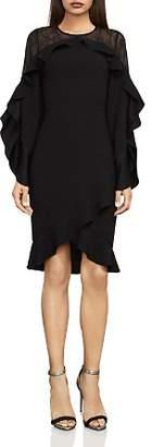 BCBGMAXAZRIA Delaney Lace-Inset Ruffled Dress