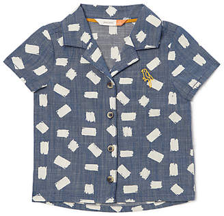 John Lewis Organic Cotton Geo Print Chambray Shirt, Blue