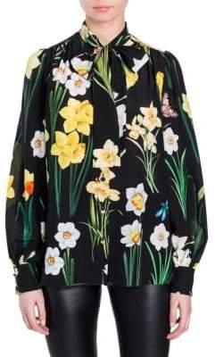 Dolce & Gabbana Daffodil Print Tie-Neck Blouse