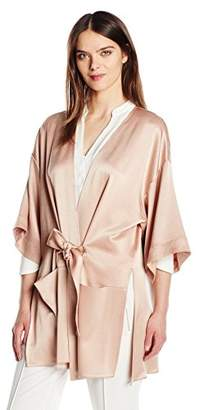 Halston Women's Satin Kimono Wrap Jacket with Multi Needle Sash