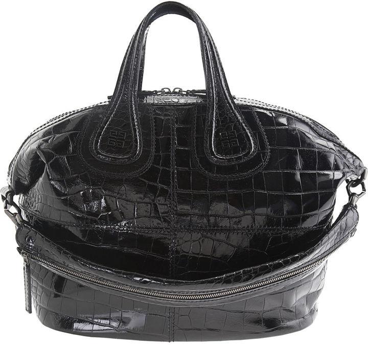 Givenchy Medium Stamped Croc Nightingale - Black