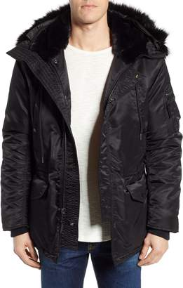 Schott NYC Satin Flight Parka with Removable Faux Fur Lining