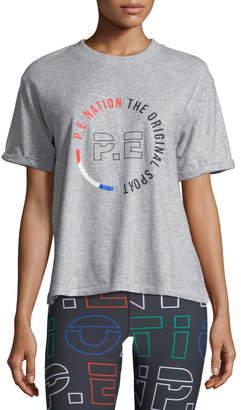 P.E Nation Jump-Off Crewneck Short-Sleeve Logo-Graphic Cotton Jersey Tee
