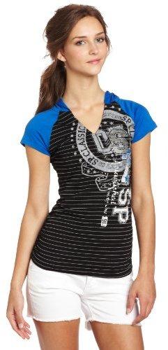 Southpole Juniors Hooded Raglan Striped Fashion Top