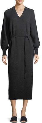Vince Side-Slit V-Neck Wool-Cashmere Long Dress