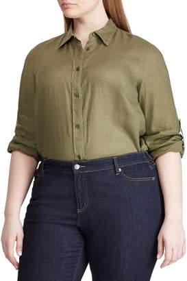 Lauren Ralph Lauren Plus Straight-Fit Linen Button-Down Shirt