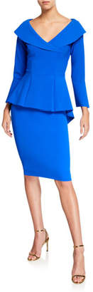 Chiara Boni V-Neck High-Low Peplum Cocktail Dress