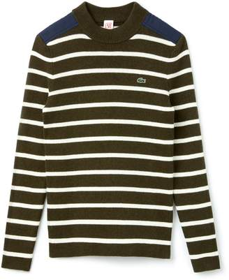 Lacoste Women's LIVE Crew Neck Striped Interlock Sweater