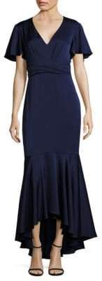Shoshanna MIDNIGHT Cape-Sleeve Hi-Lo Gown