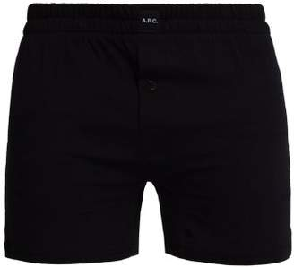 A.P.C. Logo Patch Cotton Boxer Shorts - Mens - Black
