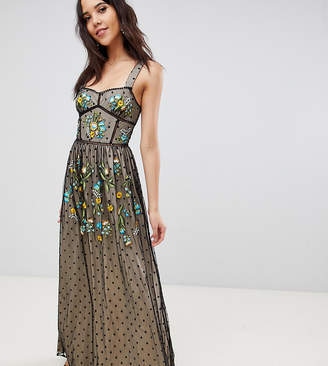Frock And Frill Tall Premium Folk Embroidered Structured Strap Maxi Dress