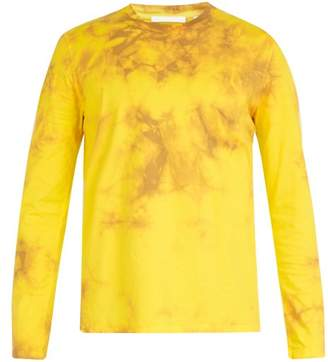 Helmut Lang Tie Dye Print Long Sleeved Cotton T Shirt - Mens - Yellow
