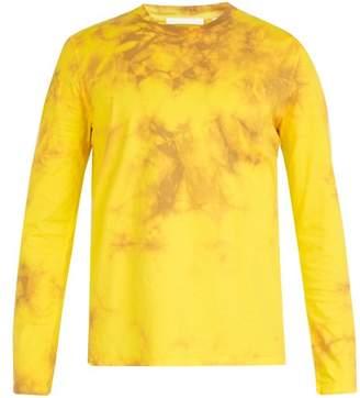 Helmut Lang - Tie Dye Print Long Sleeved Cotton T Shirt - Mens - Yellow