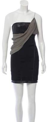 Alexander Wang Draped Leather-Trimmed Dress Black Draped Leather-Trimmed Dress