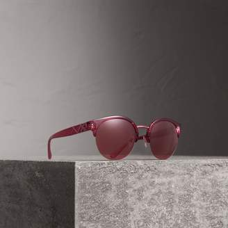 Burberry Check Detail Round Half-frame Sunglasses