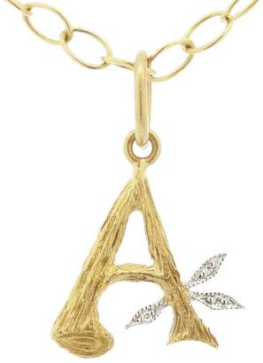 Cathy Waterman Branch Initial Charm - Yellow Gold