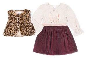 Little Lass Little Girl's Two-Piece Dotted Faux Fur Vest & Bell-Sleeve Dress Set