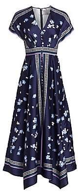 Lela Rose Women's V-Neck Floral Button-Front Scarf Dress