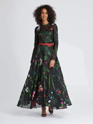 Oscar de la Renta Botanical Fil Coupe Cocktail Dress