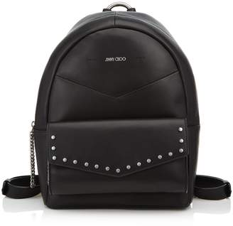 Jimmy Choo CASSIE Black Nappa Leather Backpack with Silver Round Stud Detailing