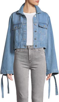 STYLEKEEPERS Denim Daze Flare-Sleeve Crop Denim Jacket