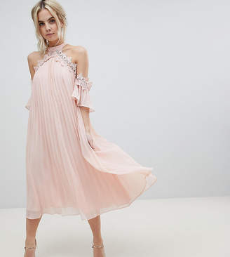 True Decadence Petite Pleated Swing Dress With Cold Shoulder Detail