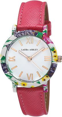 Laura Ashley Ladies Pink Band Floral Bezel Watch La31003Pk $345 thestylecure.com