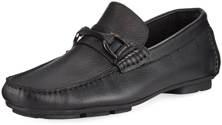 Bugatchi Bugatchi Monza Leather Slip-On Driver, Black