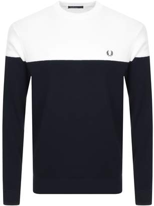Fred Perry Classic Crew Neck Knit Jumper In Navy