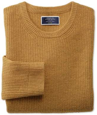 Yellow Lambswool Rib Crew Neck Jumper Size Large