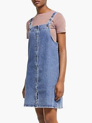 Armedangels Dainaa Denim Pinafore Dress, Light Stone Wash