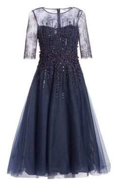 Teri Jon by Rickie Freeman Beaded Tulle Fit-&-Flare Dress