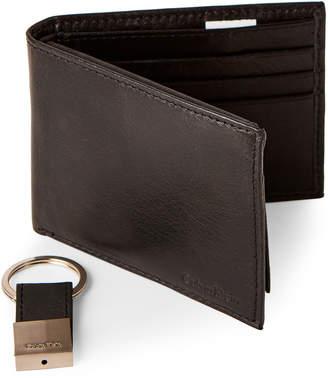 Calvin Klein Black Leather Wallet & Key Fob Set