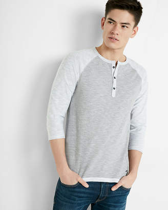 Express Color Block Three Quarter Sleeve Henley