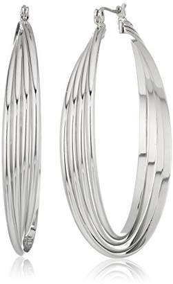 Kenneth Cole New York Kenneth Cole New Women's Trinity Rings Silver Large Twisted Hoop Earrings