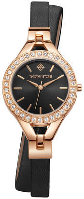 Timothy Stone Women's 'Joliet Crystal Accented Quartz Double Wrapped Vegan Leather Strap Watch Set