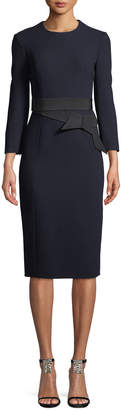 Atelier Caito For Herve Pierre Long-Sleeve Wool Crepe Dress w/ Bow Belt