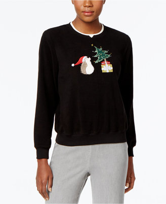 Alfred Dunner Hedgehog Holiday Sweater $52 thestylecure.com
