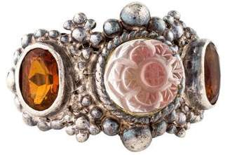 Stephen Dweck Carved Quartz & Citrine Cocktail Ring