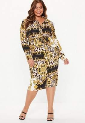 Missguided Plus Size Multi Chain Print Midi Shirt Dress