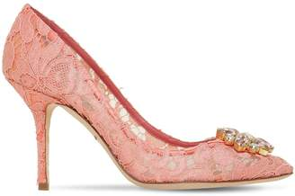 Dolce & Gabbana 90mm Bellucci Crystals Lace Pumps