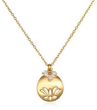 Satya Jewelry December Turquoise Lotus Adjustable Birthstone Pendant Necklace