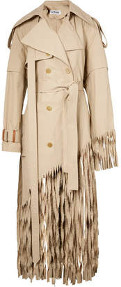 Distressed Fringed Cotton Trench Coat - Beige