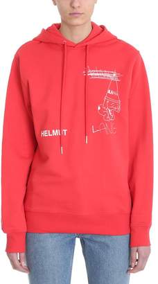 Helmut Lang Puppy Hoodie Red Cotton Sweatshirt