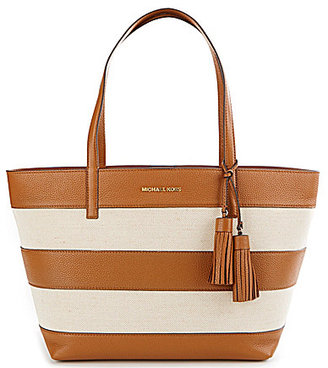 MICHAEL Michael Kors Striped Canvas Tasseled Large East/West Tote $208.60 thestylecure.com
