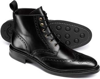 Charles Tyrwhitt Black Brogue Wing Tip Boots Size 9