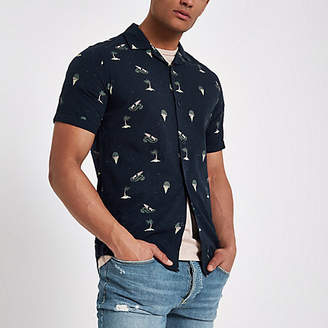 River Island Only and Sons navy slim fit short sleeve shirt