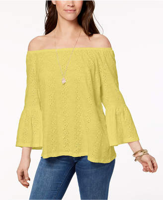 Style&Co. Style & Co Petite Off-The-Shoulder Cotton Eyelet Top, Created for Macy's