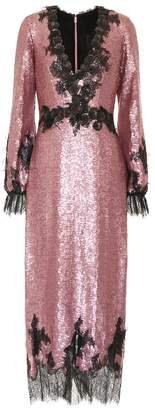 Costarellos Lace-trimmed sequined dress