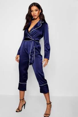 boohoo Pyjama Style Satin Belted Culotte Jumpsuit
